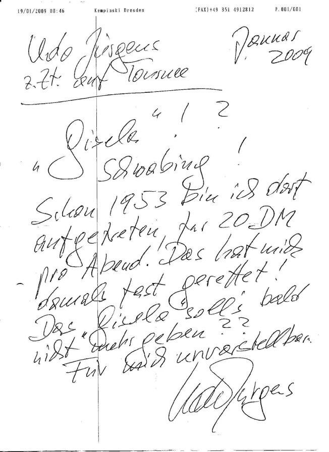 Ein Fax von Udo Jürgens