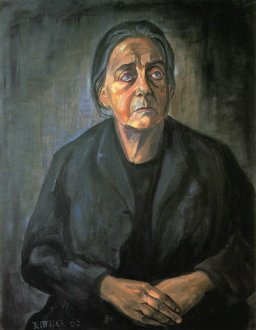 Therese Giehse in der Rolle der Mutter Courage, Porträt von Günter Rittner, 1966