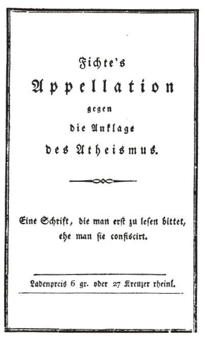 Umschlagseite von J. G. Fichtes 1799 in der Cottaischen Buchhandlung erschienenen Schrift »Appellation gegen die Anklage des Atheismus«.