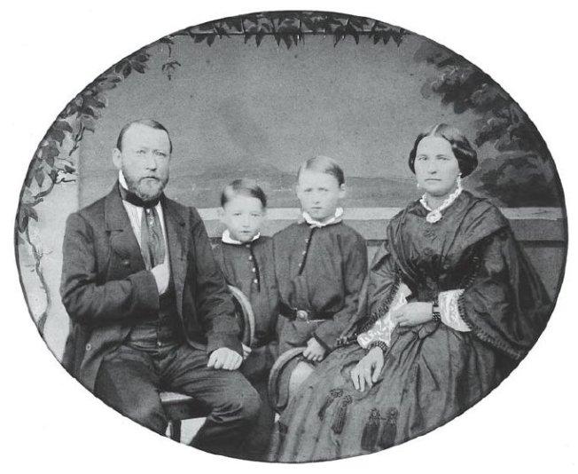 Der Firmengründer Julius Beltz und Familie (fotografiert am 9. Juli 1860 beim Kunstmaler F. Tellgmann in Mühlhausen)