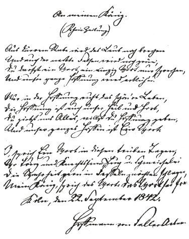 »An meinen König« von Hoff mann von Fallersleben in der Handschrift des Dichters. (Umschrift im Anhang) (Kann heute auch keiner mehr lesen)