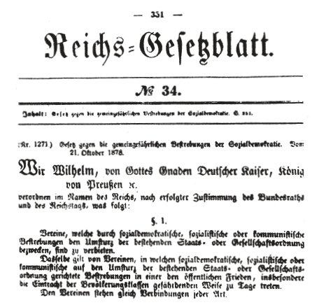 Auszug aus dem »Sozialistengesetz« vom 21. Oktober 1878