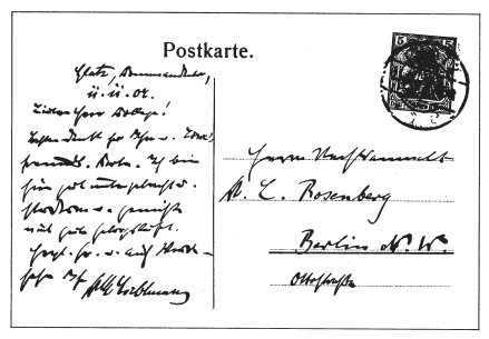 Faksimile einer Ansichtskarte von Karl Liebknecht aus der Festung Glatz