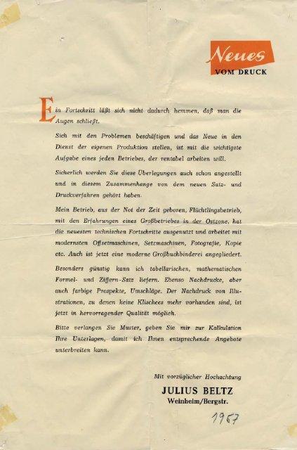 Beispiel eines Werbebriefes, mit dem die Julius Beltz Druckerei sich im neuen Umfeld bekannt macht.