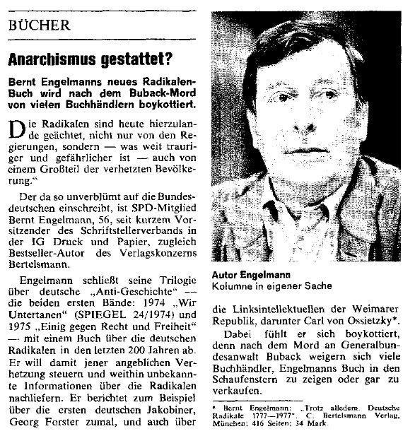 """""""Spiegel - Besprechung"""" aus dem Jahr 1977 (Asuzug; der gesamte Artikel sowie ein Beitrag aus der """"Zeit"""", ebenfalls 1977, liegt der Präsentation bei)"""