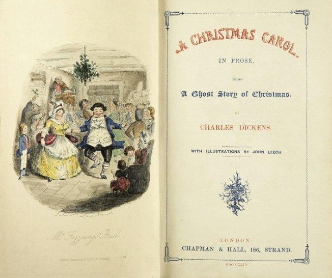 Titelblatt der Erstausgabe von A Christmas Carol, kolorierte Illustration von John Leech, 1843