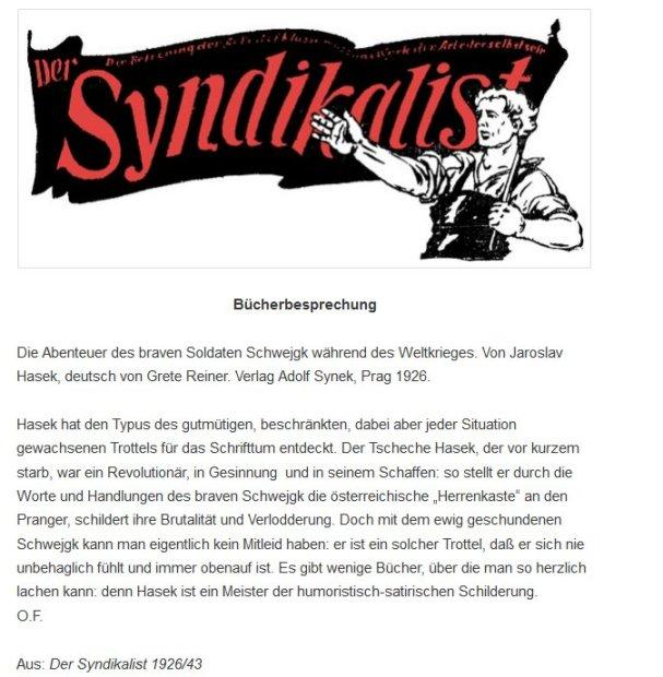 """Buchbesprechung aus der Anarchisten-Zeitung """"Syndikalist"""",  1926"""