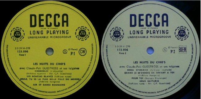 Labels einer weiteren französischen Ausgabe (diesmal ebenfalls auf Decca)