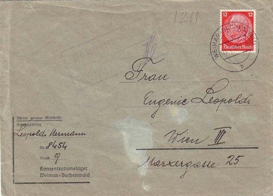 Brief von Hermann Leopoldi aus dem KZ Buchenwald an Eugenie Leopoldi (Januar 1939)