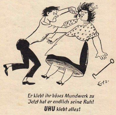 Frauenfeindliche Werbung damals: Anzeige für UHU Alleskleber im KOSMOS Taschenkalender 1954/55