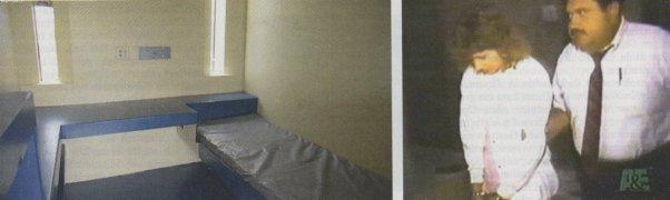 Die Gefängniszelle der Debbie Milke + Debbie Milke mit dem Ermittler Saldate (bei der Festnahme)