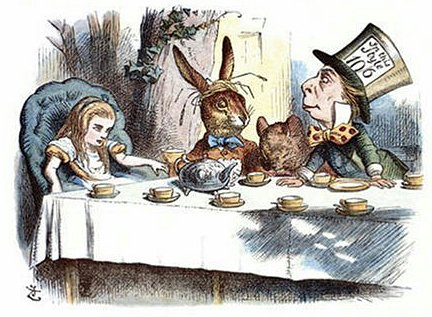 Alice bei der Teegesellschaft von John Tenniel (1865), koloriert